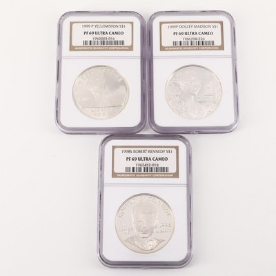 Three NGC Graded Ultra Cameo U.S. Commemorative Silver Dollars