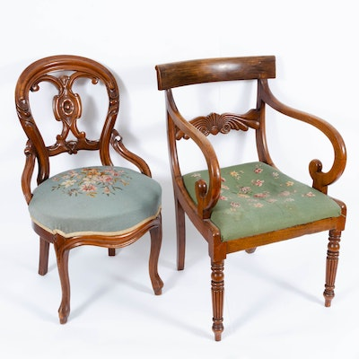 Needlepoint Carved Wood Armchairs, Early 20th Century