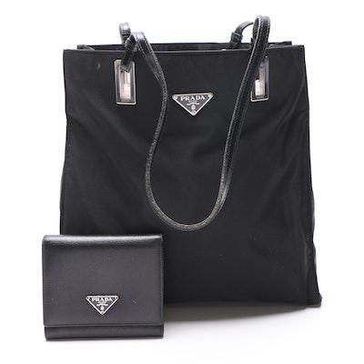 Prada Black Nylon Shoulder Bag and Black Saffiano Leather Wallet