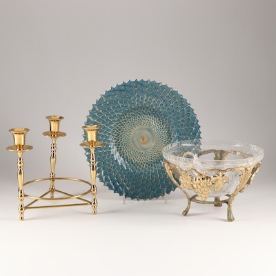 Brass Centerpiece with Cabinet Plate and Mounted Crackle Glass Candy Bowl