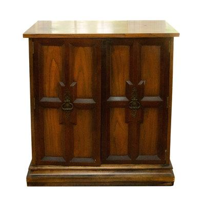 Wooden Bar Storage Cabinet with Glasses, Mid 20th Century
