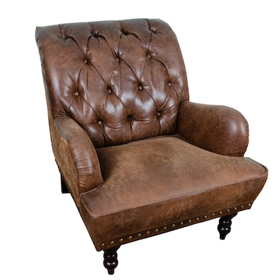 Contemporary Victorian Style Tufted Bonded-Leather & Fabric-Upholstered Armchair