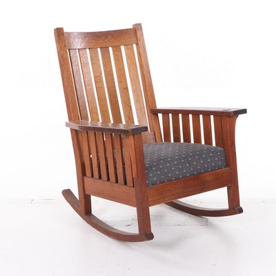 L. & J. G. Stickley Mission Oak Rocking Chair, Early 20th Century