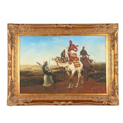 "Copy Oil Painting after Emile Vernet ""Arabs Travelling in the Desert"""