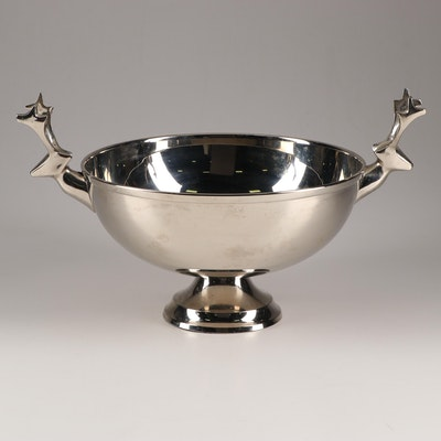 Crate & Barrel Metal Reindeer Centerpiece Bowl