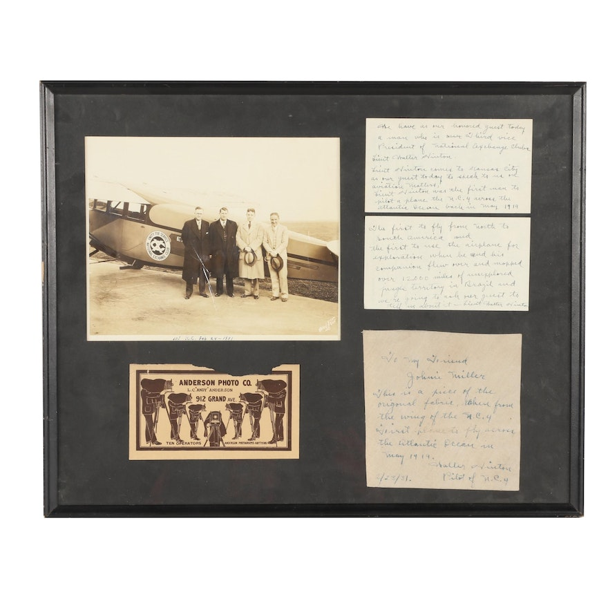 Walter Hinton Autographed Aircraft Fabric and Photo in Display, Circa 1931