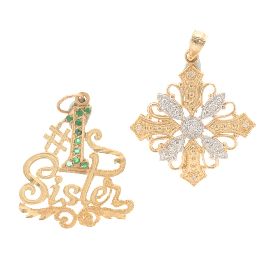 14K Yellow Gold Diamond and Emerald Pendants
