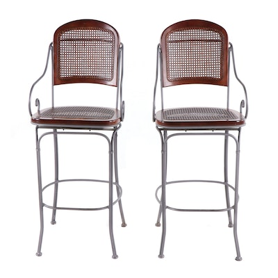 Pair of Contemporary Metal and Wood Bar Stools
