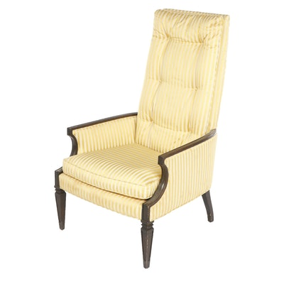 Mid Century Tomlinson Button-Tufted Yellow Upholstered High Back Armchair, 1960s