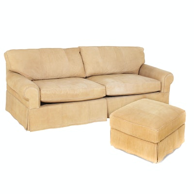 Leatherman's Guild Contemporary Beige Leather Upholstered Sofa and Ottoman