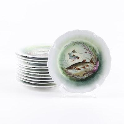L.R.L. Limoges Porcelain Fish Motif Salad Plates