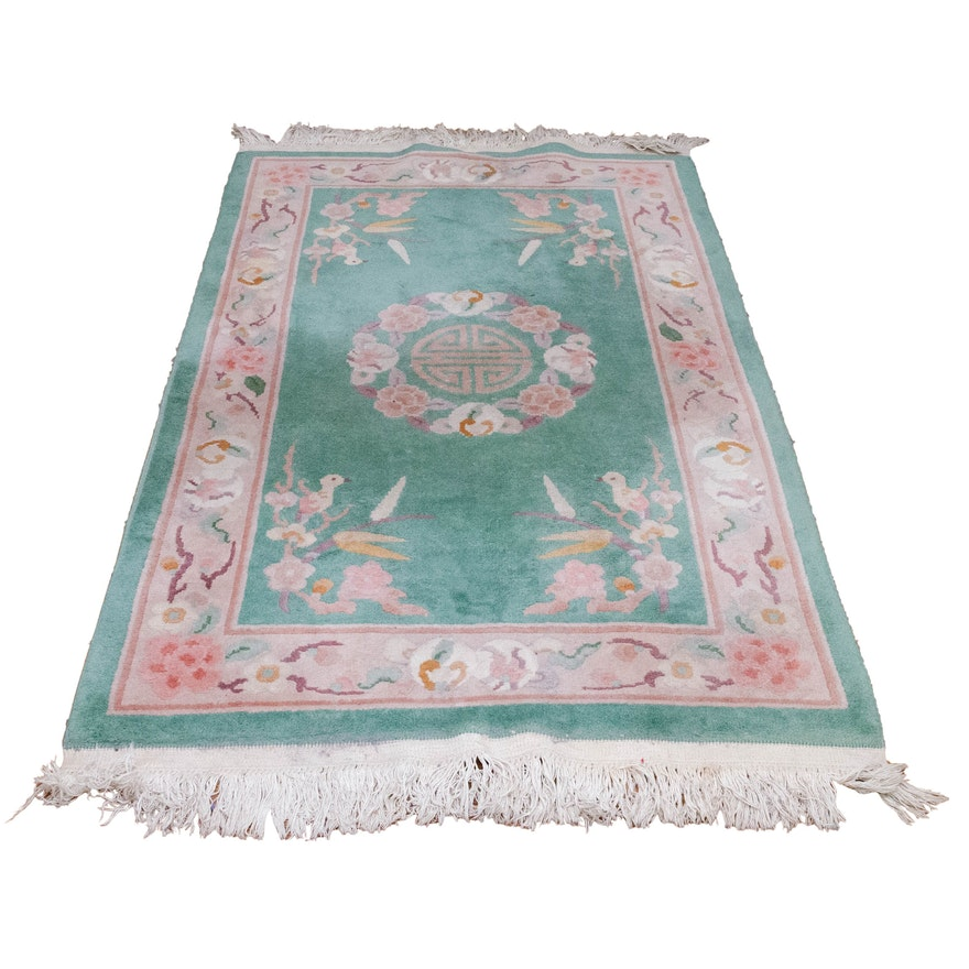 Hand-Knotted Sculpted Floral Chinese Wool Rug