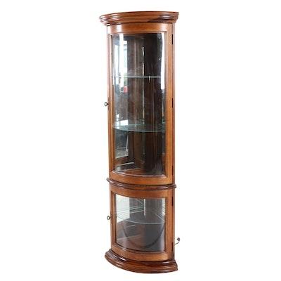 Illuminated Oak Veneer Corner Curio Cabinet, Late 20th Century