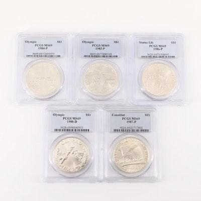 Five PCGS Graded MS69 U.S. Commemorative Silver Dollars