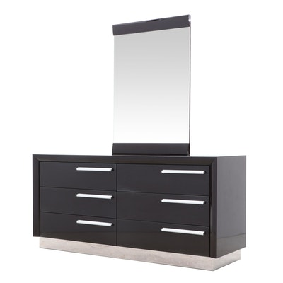 Contemporary Lacquered Ebonized Wood Dresser and Vanity Mirror