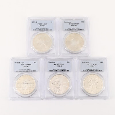 Group of Five PCGS Graded MS69 U.S. Commemorative Silver Dollars