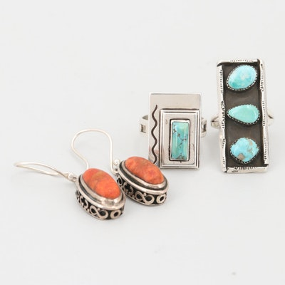 Turquoise Sterling Silver Rings with Coral Sterling Silver Earrings