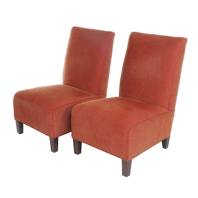 Pair of Arhaus Contemporary Transitional Red Upholstered Slipper Chairs