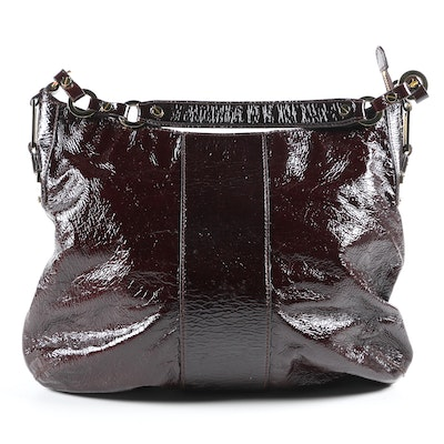 Tory Burch Crinkled Patent Leather Hobo Bag