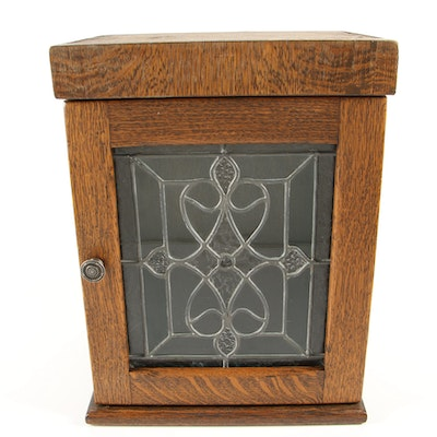 Oak Cabinet with Leaded Glass Door Panel