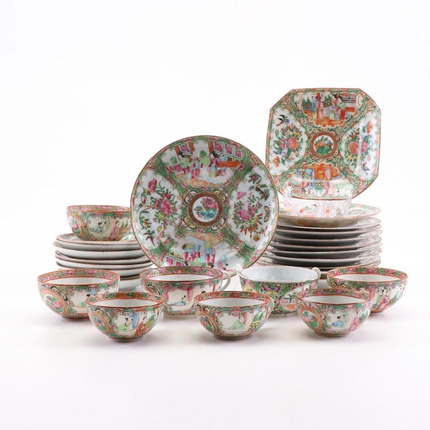 "Chinese Hand-Painted ""Rose Medallion"" Dinnerware, Late 19th Century"