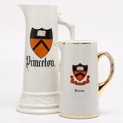 Princeton University Ceramic Pitchers, Mid-Century