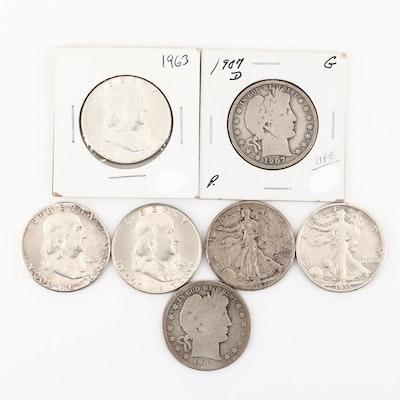 Seven Silver Half-Dollar Coins