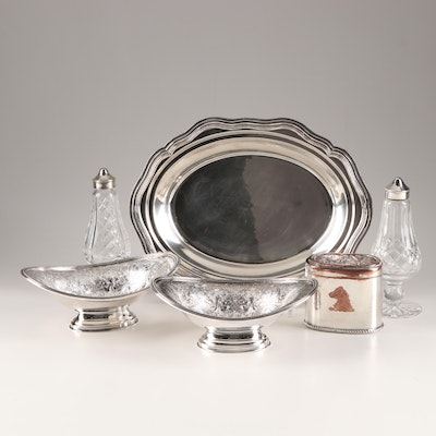 Silverplate Serveware, Snuff Box and Crystal Salt & Pepper Shakers