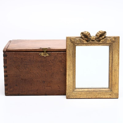 Antique Pine Document Dovetail Box with Small Decorative Giltwood Wall Mirror