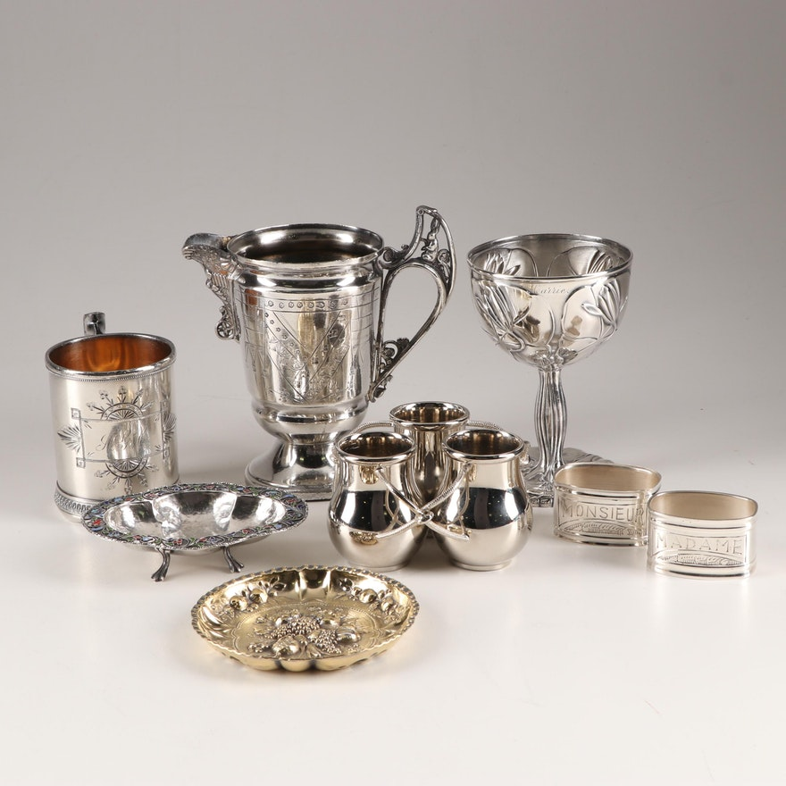 Silverplate and Metal Assorted Tableware