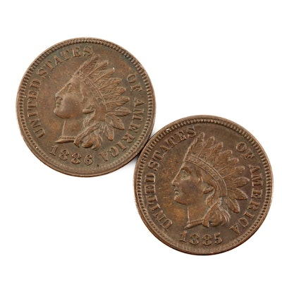 Two Higher Grade 1885 and 1886 Indian Head Cents