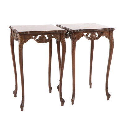 Pair of Louis XV Style Side Tables with Figured and Crossbanded Tops