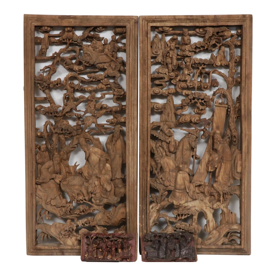 Chinese Reticulated Carved Wood Architectural Panels