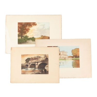 """Etchings with Aquatint Including """"Le Pont Neuf"""""""