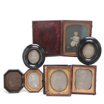 Daguerrotype Portraits and Portrait in Gutta-Percha Case