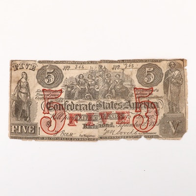 Samuel Upham 1861 Contemporary Counterfeit of a $5 Confederate Banknote