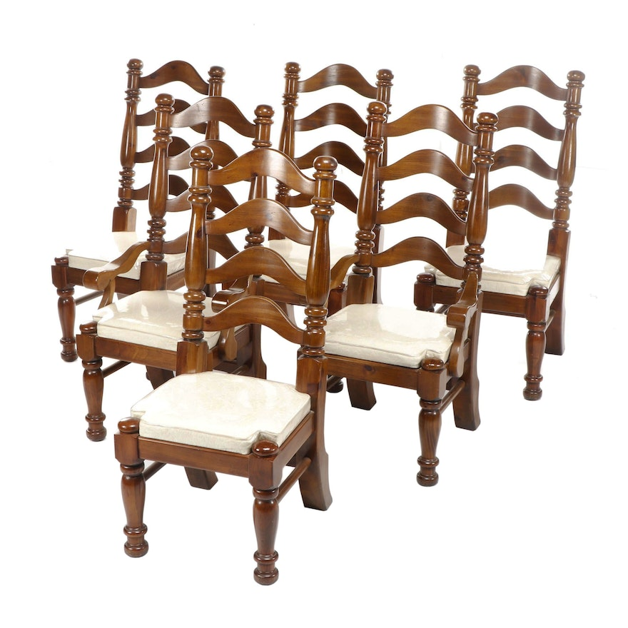 Large Contemporary Farmhouse Ladderback Wooden Dining Chairs