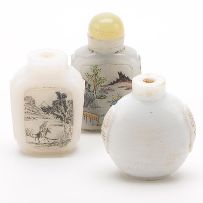 Chinese Painted and Carved Glass Snuff Bottles, Vintage