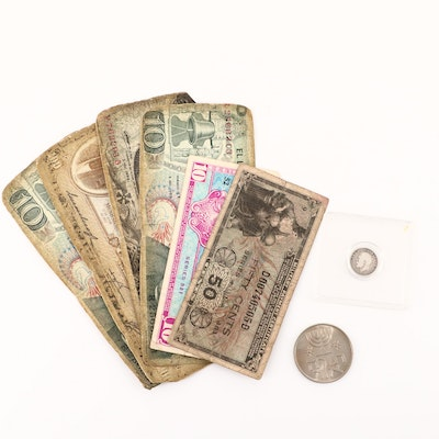 Group of Foreign Coins and Currency