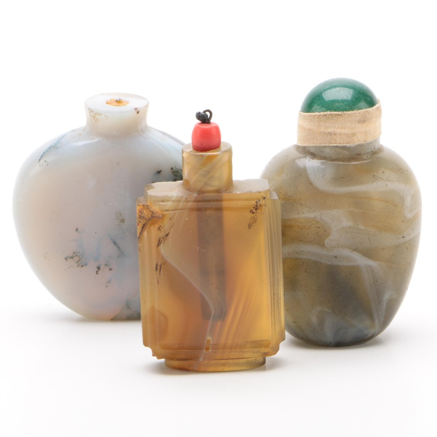 Chinese Banded Agate Snuff Bottles with Jadeite Cap