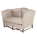 Contemporary Baroque Style Gray Upholstered High Tuxedo-Back Loveseat Sofa