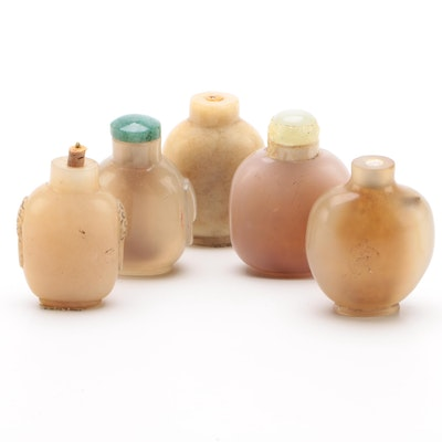 Chinese Agate and Hardstone Snuff Bottles with Bowenite and Jadeite