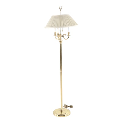 Lacquered and Polished Brass Neoclassical Style Floor Lamp