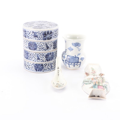 Chinese Ceramic Stacking Bowls with Vase, Spoon and Wall Pocket