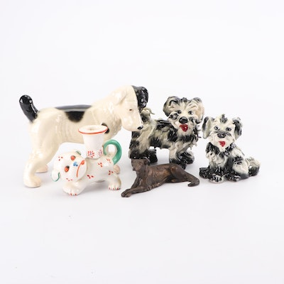 Assorted Dog Figurines with Candlestick Holder