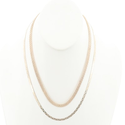Gold Wash on Sterling Silver Link Chain Necklaces