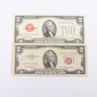 Red Seal 1928G and 1953 Two Dollar Legal Tender Notes