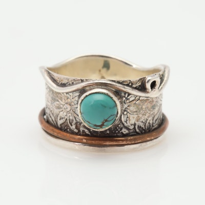 Sterling Silver & Copper Accented Turquoise Ring