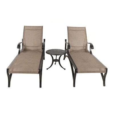 Patio Chaise Lounges with Metal Side Table