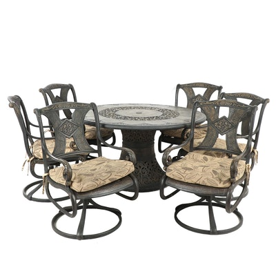 Metal Patio Table with Matching Chairs, Set of Six